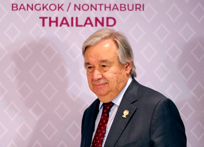 United Nations Secretary-General Antonio Guterres arrives to address a press conference at The Association of Southeast Asian Nations (ASEAN) summit in Nonthaburi, Thailand, Sunday, Nov. 3, 2019. (AP Photo/Aijaz Rahi)
