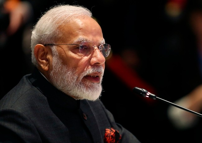 India's Prime Minister Narendra Modi speaks during The Association of Southeast Asian Nations ASEAN-India summit in Nonthaburi, Thailand, Sunday, Nov. 3, 2019. (AP Photo/Aijaz Rahi)