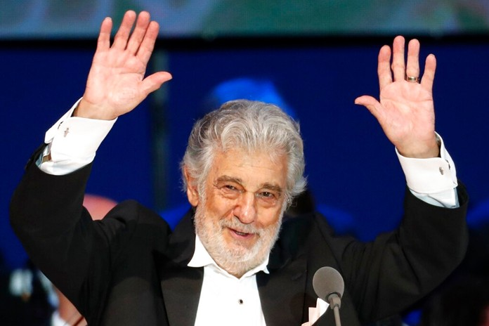 In this Aug. 28, 2019, file photo, Opera star Placido Domingo performs during a concert in Szeged, Hungary. The Tokyo Olympics organizing committee says opera legend Domingo has said he won't perform at pre-Olympics cultural events in Japan. (AP Photo/Laszlo Balogh, File)
