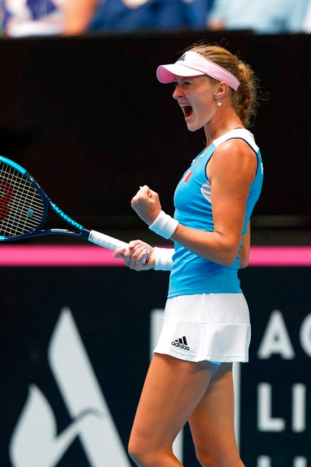 France's Kristina Mladenovic reacts during her match against Australia's Ash Barty in their Fed Cup tennis final in Perth, Australia, Sunday, Nov. 10, 2019. (AP Photo/Trevor Collens)