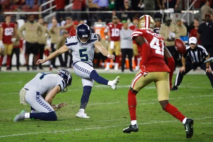 Seattle Seahawks kicker Jason Myers (5) kicks the winning field goal during overtime against the San Francisco 49ers. (AP Photo/Ben Margot)