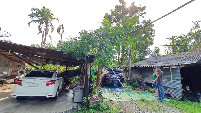 At least 3 cars were damaged when a tree and utility pole fell during heavy rain at the Teacher Housing complex at the Chonburi College of Agriculture and Technology in Najomtien.