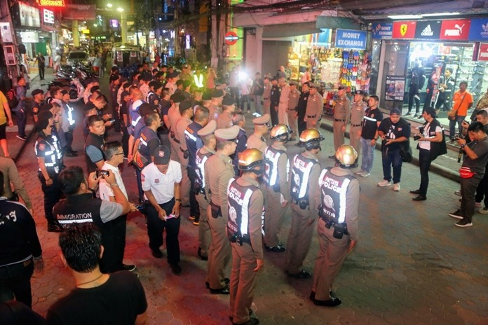 Pattaya-area police were out in force Halloween night to scare off any potential criminals.
