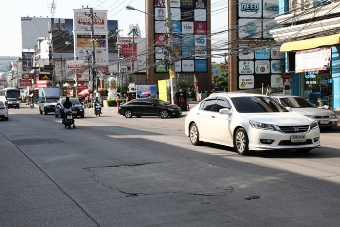 Pattaya is pointing an accusatory finger at the Provincial Electricity Authority over sink holes in two city roads where the utility recently buried power and utility lines.