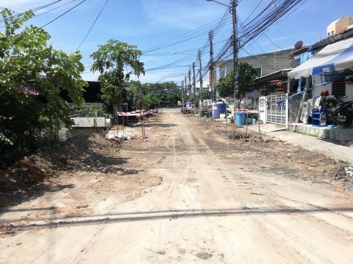 Pattaya contractors are in the final stages of laying 11 new drainage pipes under the area.