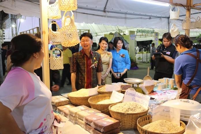 Gov. Pakarathorn Thienchai visits booths at the Chonburi Fair. The event runs through Nov. 12.