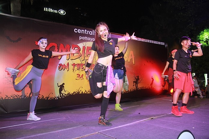 Pattaya encouraged tourists and locals to work off all that Halloween candy with a Zombie Zumba on the Beach event.