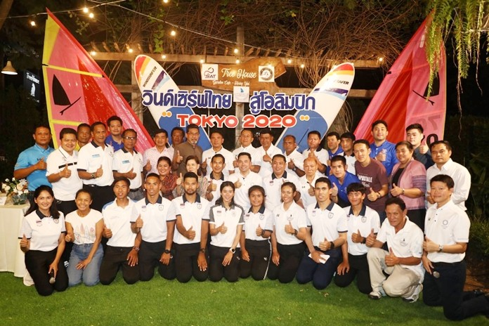 Culture Minister and head of the Windsurfing Association of Thailand Itthiphol Kunplome (2nd row, center) announces Thai windsurfing athletes will attend the Southeast Asian Games in the Philippines Nov. 30-Dec. 10.