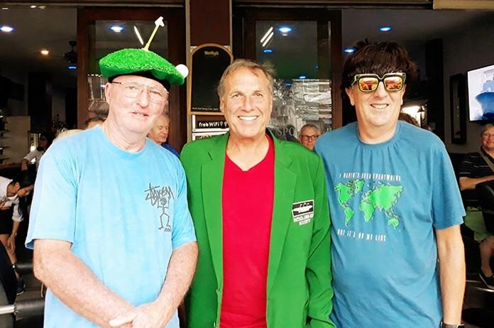 A flight winner Bill Copeland with Ron Matthews (L) and Tony Browne (R).