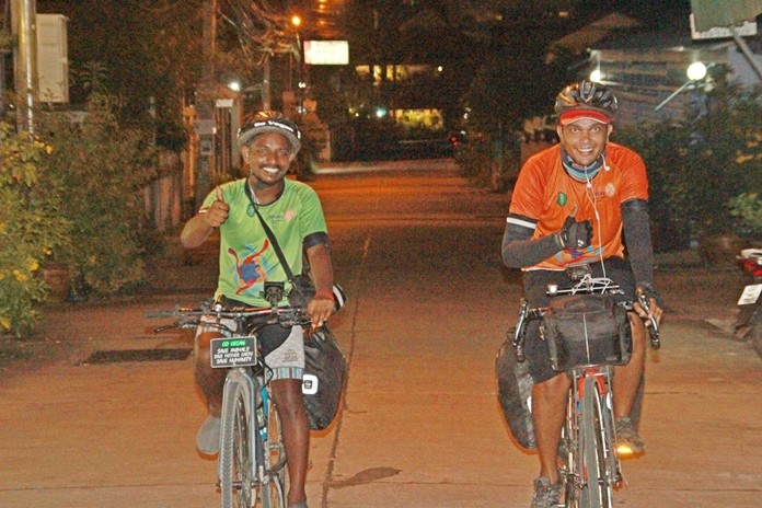 Fayis Ashraf Ali K.K and Rajith KK arrive after a day's cycling from Bangkok looking as fresh as ever.