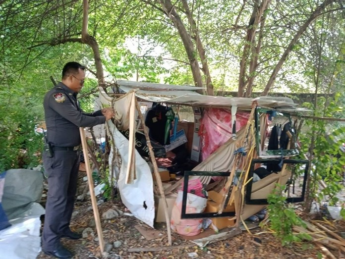 Pattaya municipal officers scooped up a homeless man and tore down a ramshackle shed he'd built himself on Jomtien Second Road.