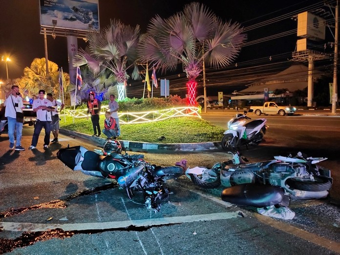One motorcyclist was killed and another hurt when their bikes collided at the U-turn in front of Siam Makro South Pattaya.
