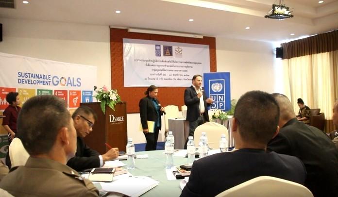 UNDP representative Rono Mayer leads the training.
