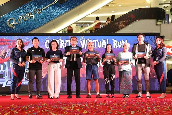 Deputy Mayor Ronakit Ekasingh, executives from Royal Garden Plaza owner Minor International Plc. and representatives from the Father Ray Foundation and Ban Kru Boonchu Foundation announced the start of the Ripley's Charity Virtual Run Nov. 15 at the South Pattaya Mall.