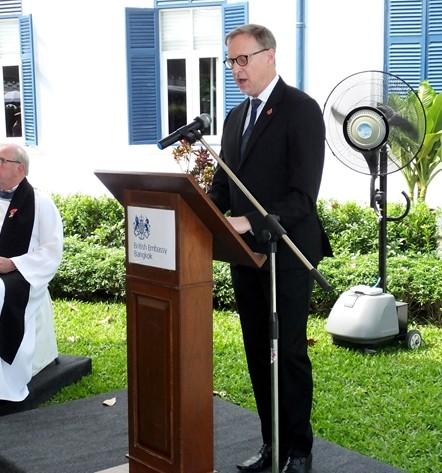 British Ambassador H.E. Brian Davidson delivers his Remembrance Day speech.