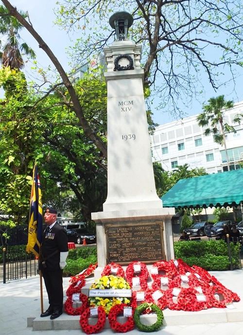 The newly installed War Memorial now in the grounds of The British Club, moved from the former Embassy site on Wireless Road.