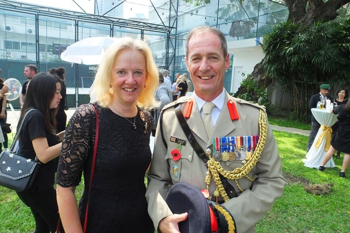 Kimberley with husband, Defence Attaché Colonel Roger Lewis.