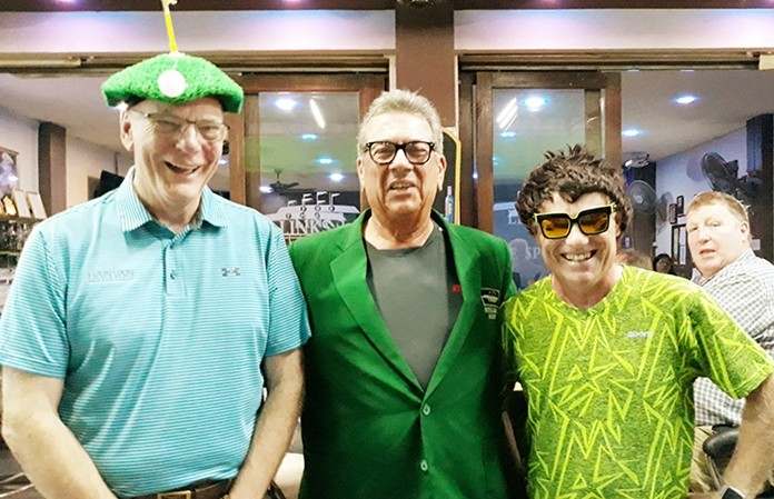 A flight winner John Pierrel with David Wall (L) and Derek Phillips (R).