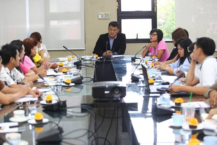 Deputy City Manager Pramote Tumtim chairs a planning meeting for Pattaya's AIDS Day parade Dec. 1.