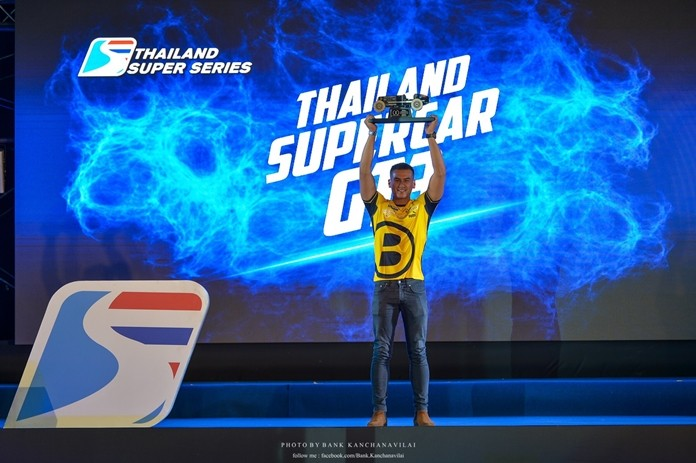 Sandy Kraokaew Stuvik proudly displays his first Thailand Super Series GT3 Category Trophy.