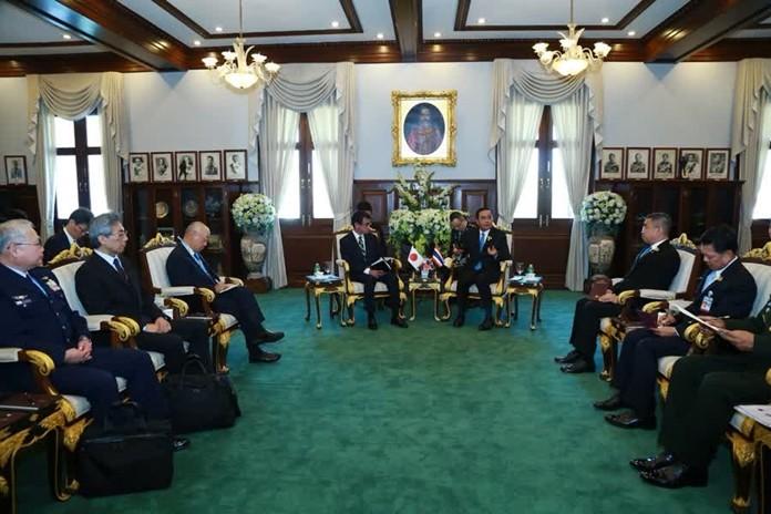 PM Gen. Prayut Chan-o-cha, welcomes Mr. Kono Toro, Japanese Defense Minister and his entourage.