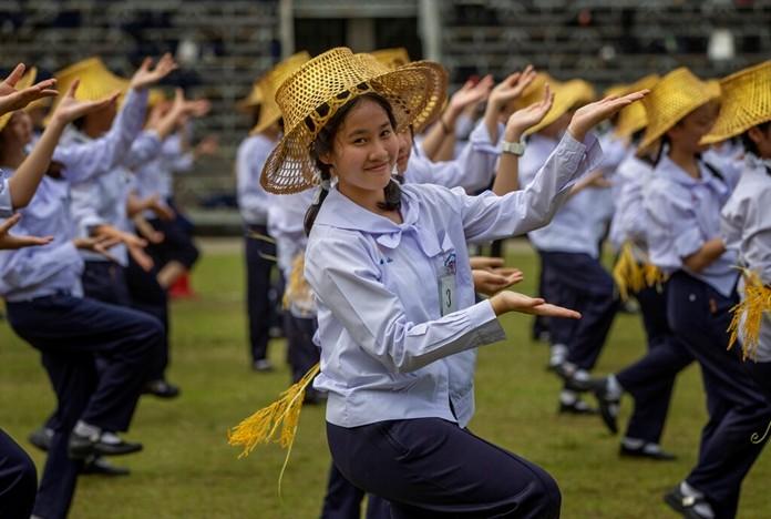 School children participate in a dance rehearsal at the Assumption Commercial Collage in Bangkok, Thailand Nov. 13, 2019. (AP Photo/Gemunu Amarasinghe)