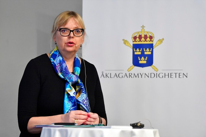 Deputy Director of Public Prosecution Eva-Marie Persson speaks during a press conference in Stockholm, Sweden, Tuesday Nov. 19, 2019. (Jessica Gow/TT via AP)