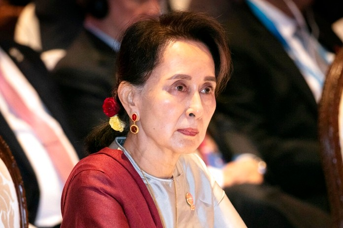 In this Nov. 3, 2019, file photo, Myanmar's leader Aung San Suu Kyi participates in ASEAN-U.N. summit in Nonthaburi, Thailand. Myanmar's government announced Wednesday, Nov. 20, 2019 that its leader Suu Kyi, will head a legal team it will send to the International Court of Justice in the Netherlands to contest a case of genocide filed against it by Gambia on behalf of the Organization of Islamic Cooperation. (AP Photo/Wason Wanichakorn)