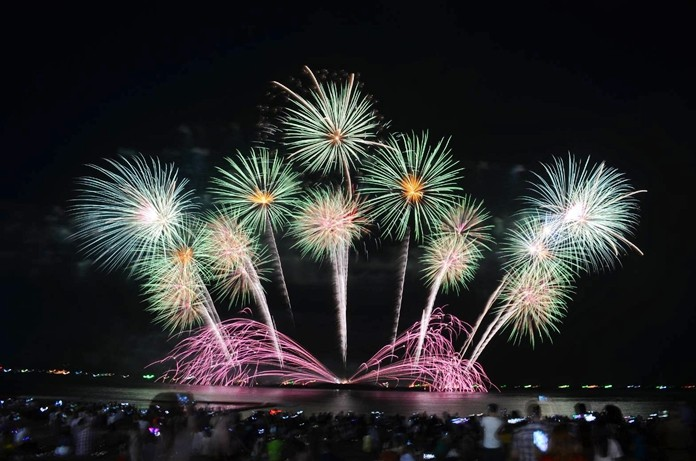 Fireworks from six countries light up the night sky during the International Fireworks Festival.
