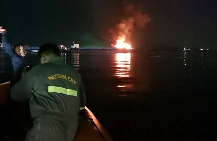 Sparks from the falling pyrotechnics onto fuel supplies are believed to have set off the blaze on the barge from which the display for the International Fireworks Show were launched in Pattaya Bay Dec. 1.
