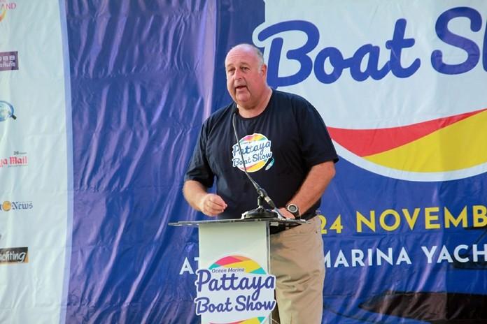 Scott Finsten, Harbour Master of Ocean Marina Yacht Club delivers his speech at the opening ceremonies.