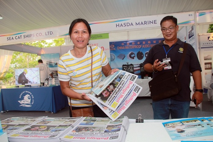 Pattaya Mail's Thanawat Suansuk watches as a visitor takes copies of our publications. Pattaya Mail was also the proud media sponsor of the Ocean Marina Pattaya Boat Show 2019.