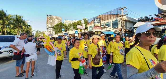 The annual parade down Beach Road to Pattaya School No. 8 was held to raise AIDS awareness and promote safe sex
