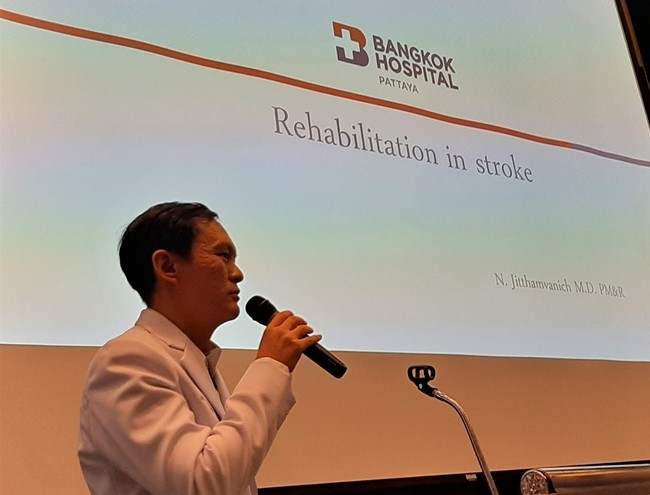 Rehabilitation Specialist Dr. Natchai explains the benefits of rehabilitation after a stroke which can begin within 24 to 48 hours, but may need to continue for several months depending on the extent of damage done by the stroke.