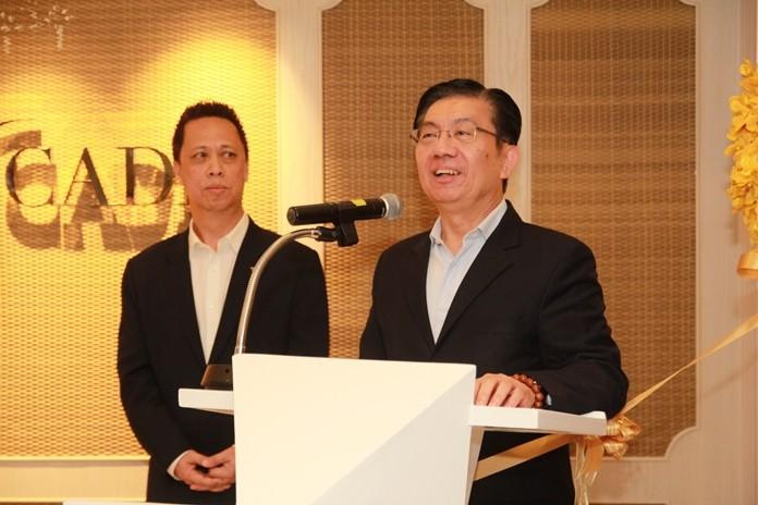 Lim Boon Kwee, COO of Dusit International makes his address.