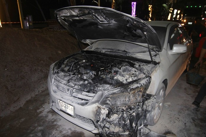 It was nervously exciting and ultimately expensive, but luckily no one was hurt when a Honda Accord caught fire outside the Pattaya Police Station.