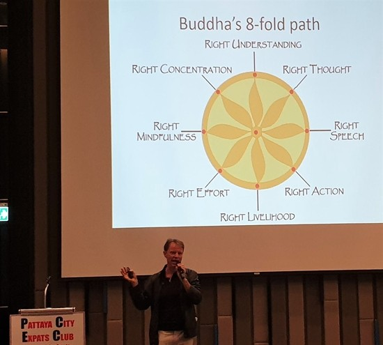 Dr. Ren Lexander describes Buddha's Eight-fold Path, which is the basis for most Thai beliefs as to what is right and moral action, and explained how it differs from that viewed by most Westerners.