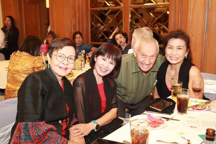 Bernie Tuppin is thrilled to see his dear friends Sopin Tappajug MD of Diana Garden Resort, Praichit Jetapai, President of YWCA Bangkok-Pattaya and Nittaya Patimasongkroh former president of the YWCA.