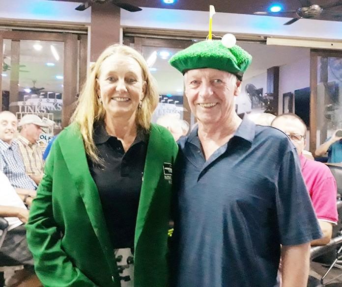 C flight winner Helene Lindberg with Larry Slattery.