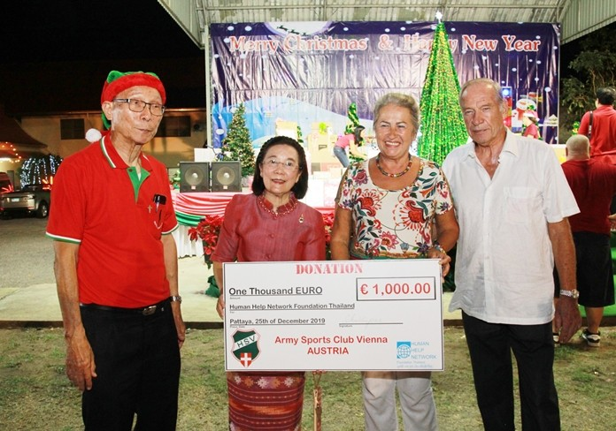 Benevolent guests, including representatives from the Army Sports Club of Vienna Austria, made gracious donations to the Human Help Network Thailand Foundation.