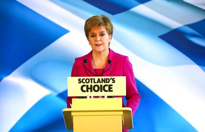 Scottish First Minister Nicola Sturgeon speaks to supporters in Edinburgh, Scotland, Friday Dec. 13, 2019. (Jane Barlow/PA via AP)