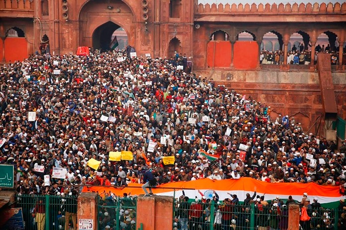 Indians gather for a protest against the Citizenship Amendment Act after Friday prayers outside Jama Masjid in New Delhi, India, Friday, Dec. 20, 2019. (AP Photo/Altaf Qadri)