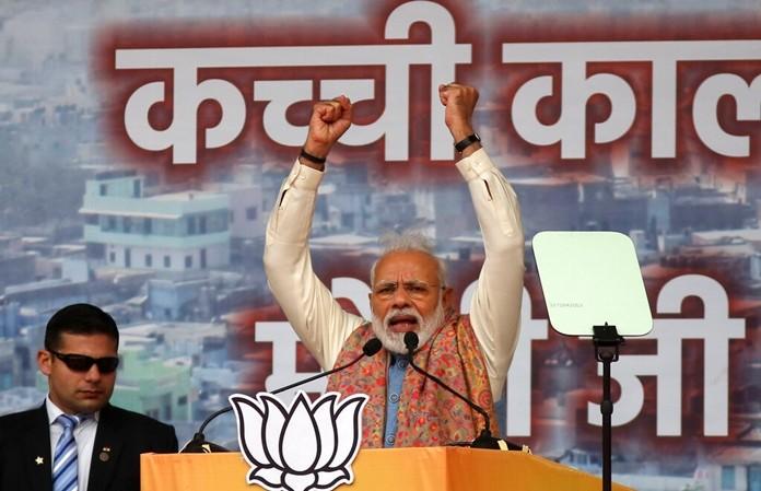 Indian Prime Minister Narendra Modi addresses a rally of his Hindu nationalist Bharatiya Janata Party in New Delhi, India, Sunday, Dec. 22, 2019. (AP Photo)