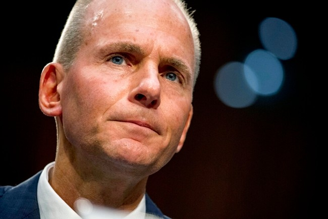 In this Oct. 29, 2019, file photo Boeing Company President and Chief Executive Officer Dennis Muilenburg appears before a Senate Committee on Commerce, Science, and Transportation hearing on 'Aviation Safety and the Future of Boeing's 737 MAX' on Capitol Hill in Washington. (AP Photo/Andrew Harnik, File)