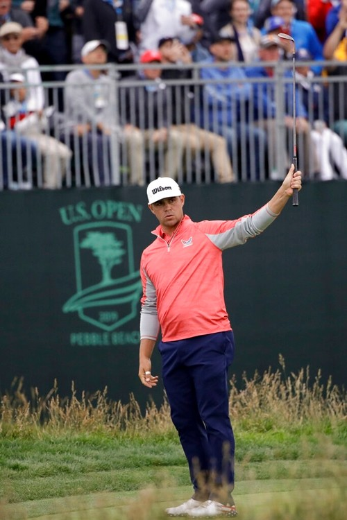 Gary Woodland reacts to his chip off the 17th green during the final round of the U.S. Open Championship golf tournament Sunday, June 16, 2019, in Pebble Beach, Calif. Woodland believes this shot is what people will remember the most. (AP Photo/Marcio Jose Sanchez) (AP Photo/Marcio Jose Sanchez, File)
