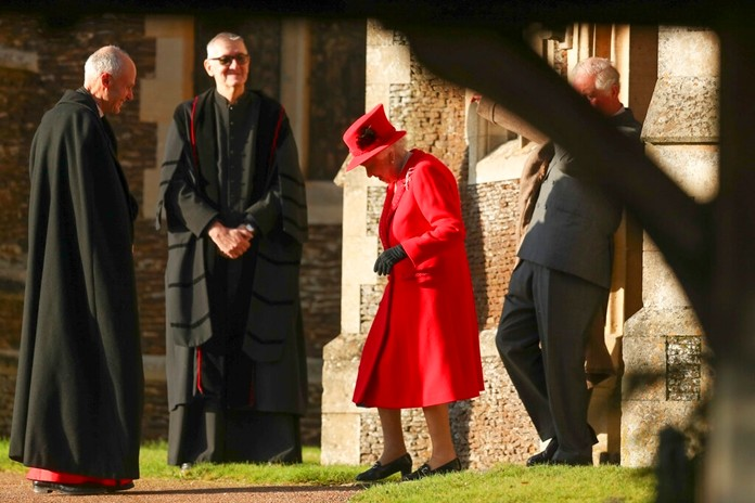 Britain's Queen Elizabeth II arrives to attend the Christmas day service at St Mary Magdalene Church in Sandringham in Norfolk, England, Wednesday, Dec. 25, 2019. (AP Photo/Jon Super)