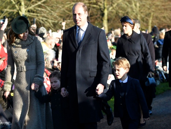 From left, Kate, Duchess of Cambridge, Britain's Prince William and their children Prince George, right, and Princess Charlotte arrive to attend the Christmas Day morning church service at St. Mary Magdalene Church in Sandringham, Norfolk, England, Wednesday, Dec. 25, 2019. (Joe Giddens/PA via AP)