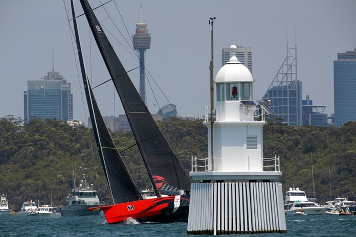 Comanche warms up in Sydney Harbour before the start of the Sydney Hobart yacht race in Sydney, Australia, Thursday, Dec. 26, 2019. (AP Photo/Steve Chirsto)