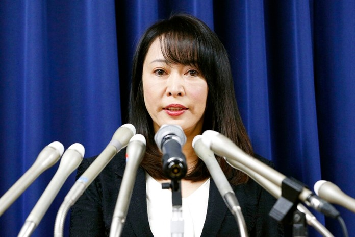 Japan's Minister of Justice Masako Mori speaks at a press conference on the execution of a convict Thursday, Dec. 26, 2019, in Tokyo. (Kyodo News via AP)