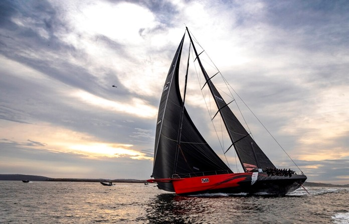 In a photo provided by Rolex, Comanche arrives at Hobart, Australia, to claim line honors victory in the Sydney to Hobart yacht race Saturday, Dec. 28, 2019. (Carlo Borlenghi/Rolex via AP)